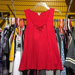 Guess laced up V-neck tank top